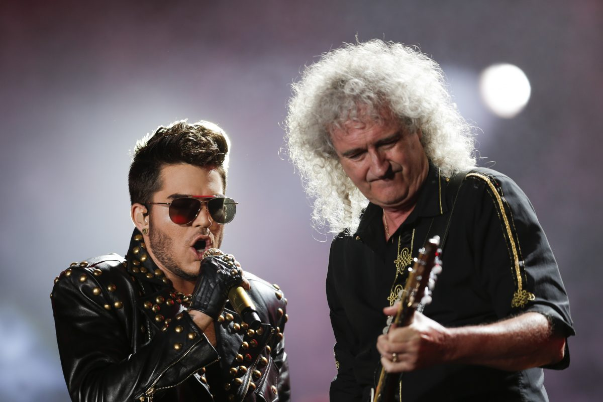 Adam Lambert (left) and Brian May performing as Queen + Adam Lambert, n 2015 in Brazil.
