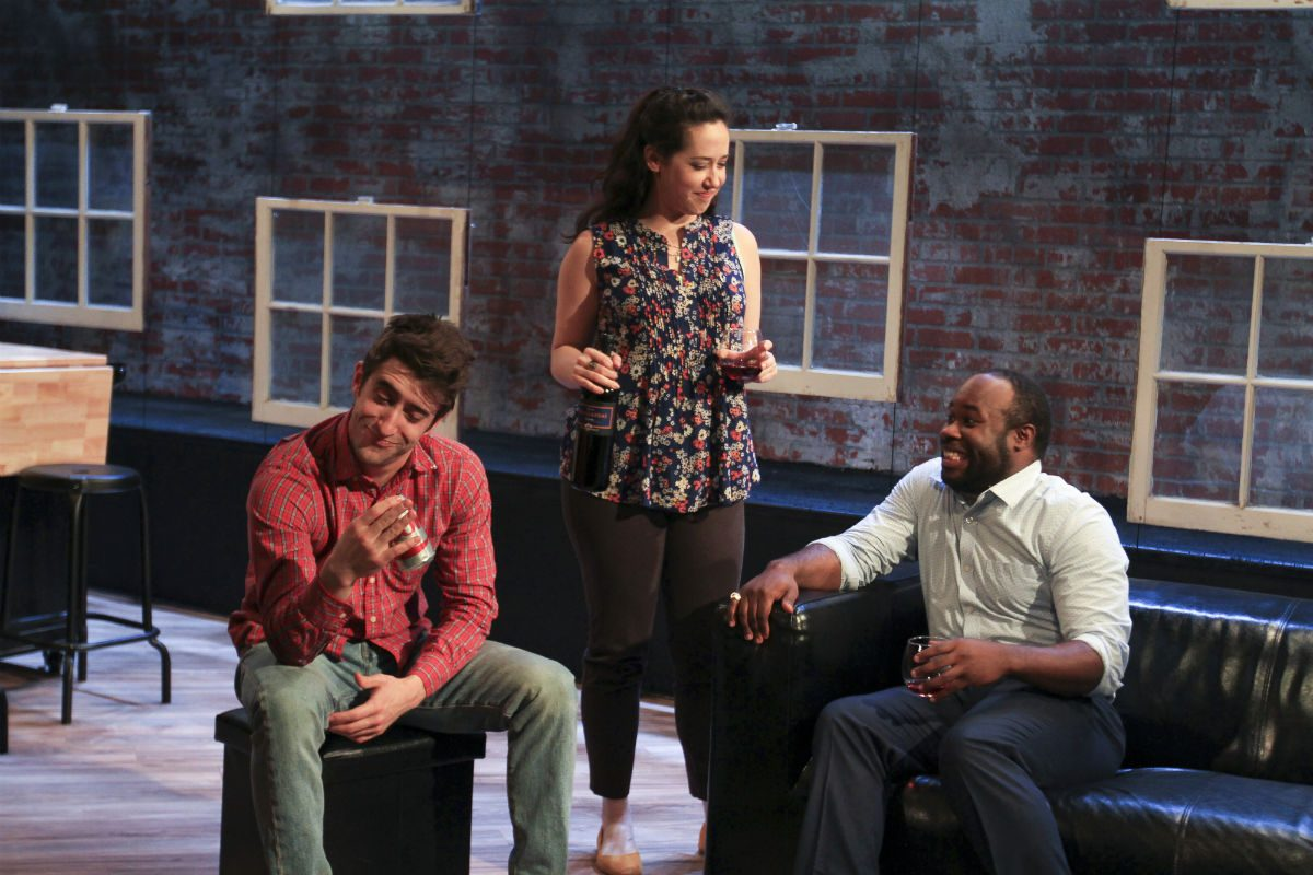 """Buzzer"" by Tracey Scott Wilson was a standout in Theatre Exile's 2016-2017 season. The theater has to move offices and venue while its home at the Wolf Building on 13th Street is being renovated. Shown here (left to right): Matteo Scamell, Alex Keiper, and Akeem Davis."
