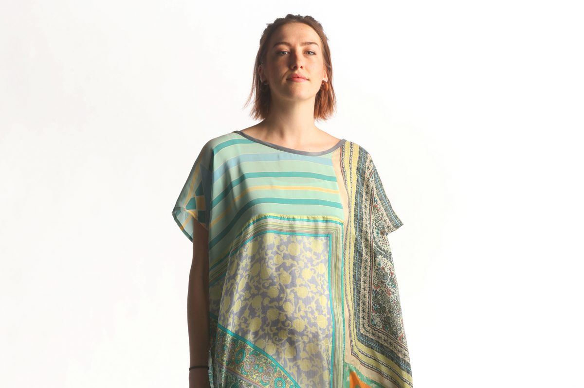 Caftan fashioned from vintage silk scarves designed by Sara Keel. $265. Available at Penrosedesignstudio.com Friday June 21st, 2017. ( DAVID SWANSON / Staff Photographer )