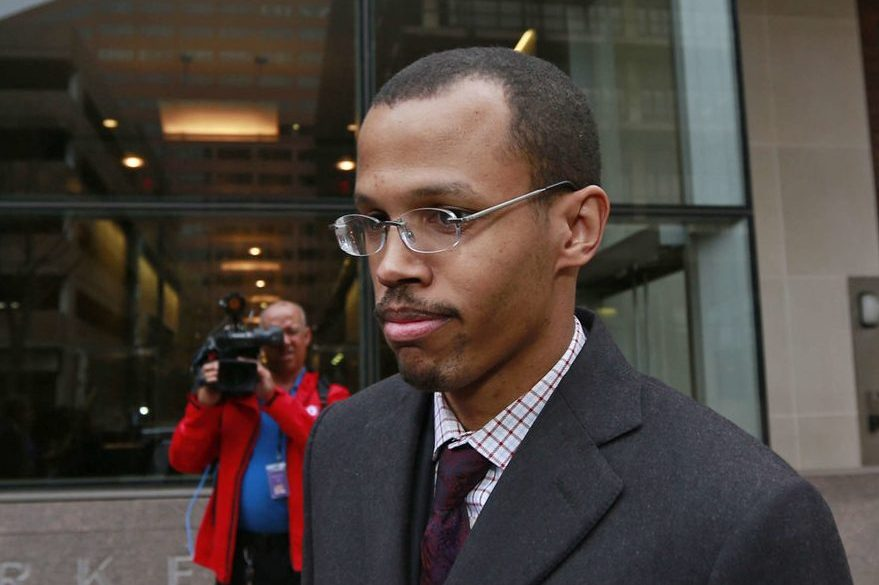 """Chaka """"Chip"""" Fattah Jr. leaving federal court in Philadelphia after his fraud conviction in November 2015."""