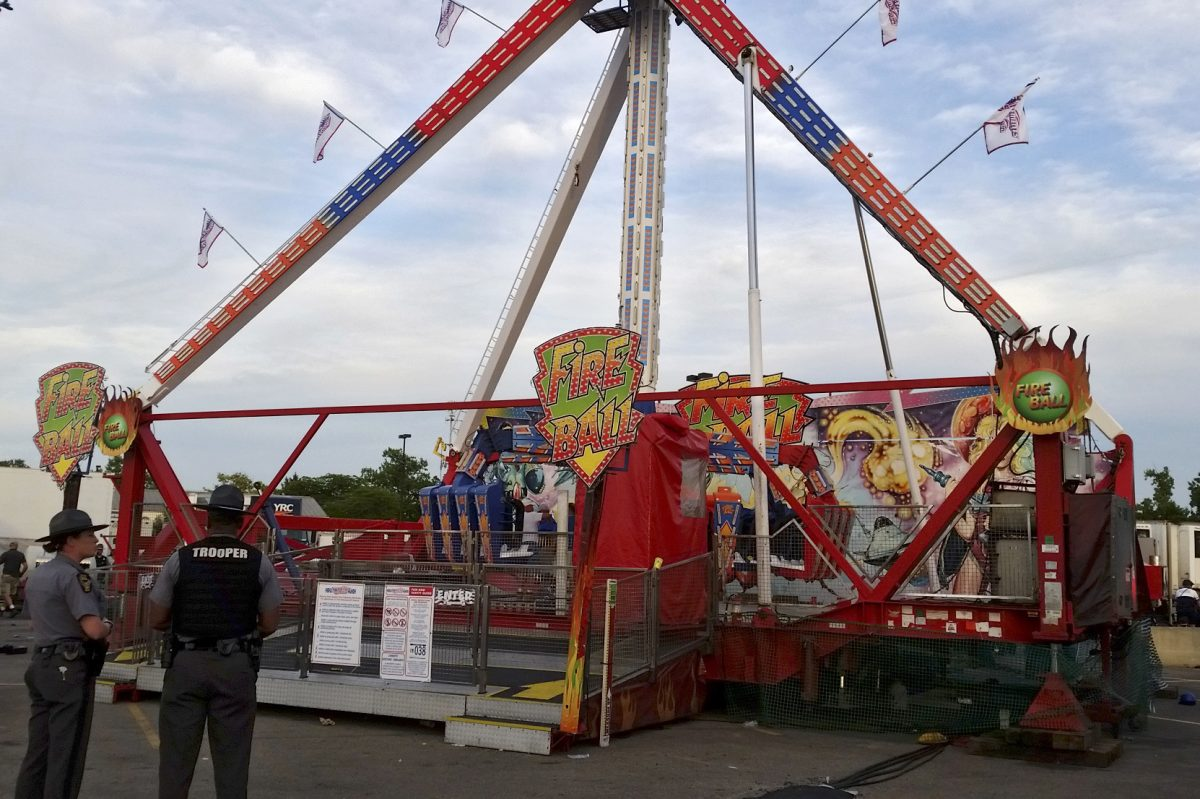 At least one man has died and seven other people were injured when an amusement ride at the Ohio State Fair malfunctioned Wednesday evening July 26, 2017 in Columbus, Ohio.