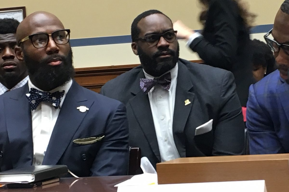 Eagles safety Malcolm Jenkins (left) prepare to speak to Democratic members of Congress on March 30, 2017. Jenkins was one of several NFL players who came to the Capitol to urge lawmakers to enact reforms to the criminal justice system.
