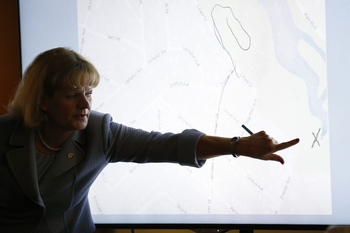 "Assistant prosecutor Christine Shah points to a map in her closing statements in the David ""DJ"" Creato trial in Camden, New Jersey on May 23, 2017. Creato is accused of killing his 3-year-old son, Brendan."