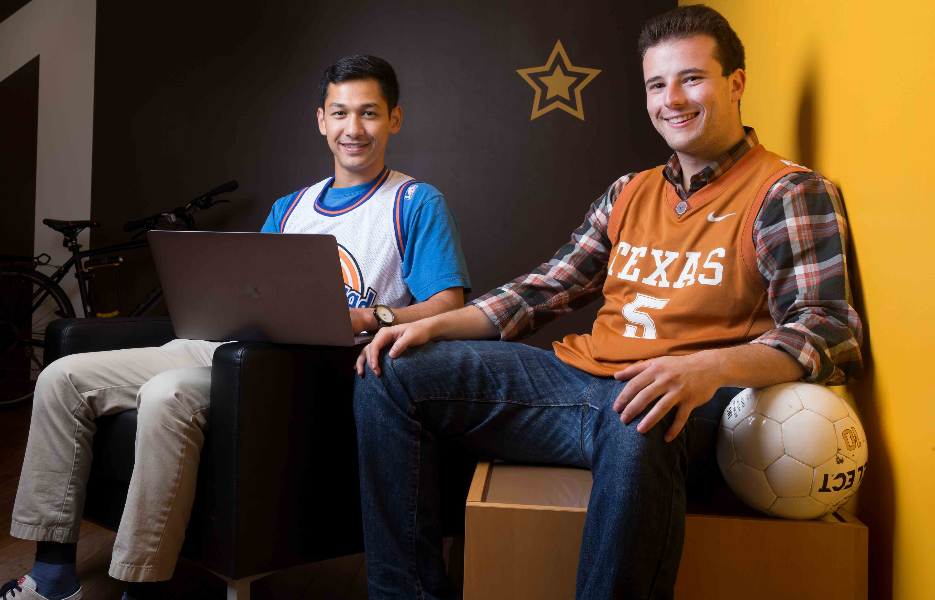 Zubin Teherani, left, and Evan Brandoff, founders of start-up LeagueSide, want to make youth sports available to every kid by helping link leagues with sponsors. JESSICA GRIFFIN / Staff Photographer )