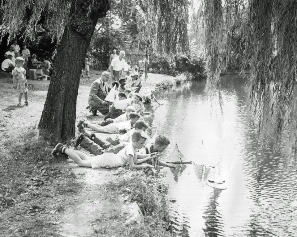 A scene in Cadwalader Park, circa 1950.