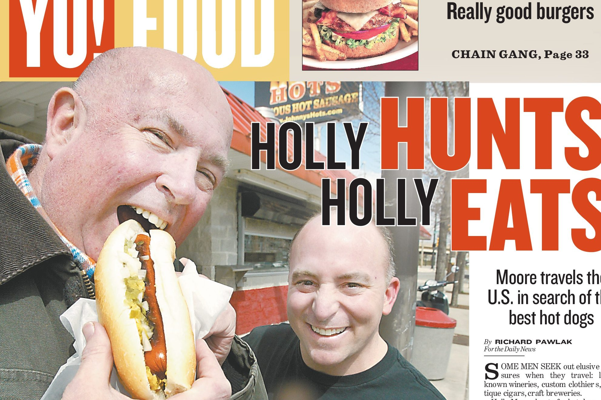 Holly Moore, pictured with Johnny's Hots owner John Danzy, on the cover of the Daily News´ food section, March 30, 2006