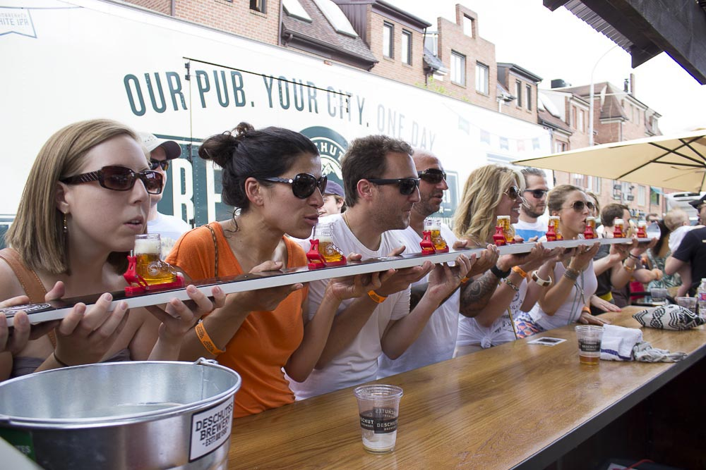 Fans line up for a group chug at Deschutes Brewery Street Pub, returning for Philly Beer Week to Headhouse Square on Saturday(Deschutes Brewery)