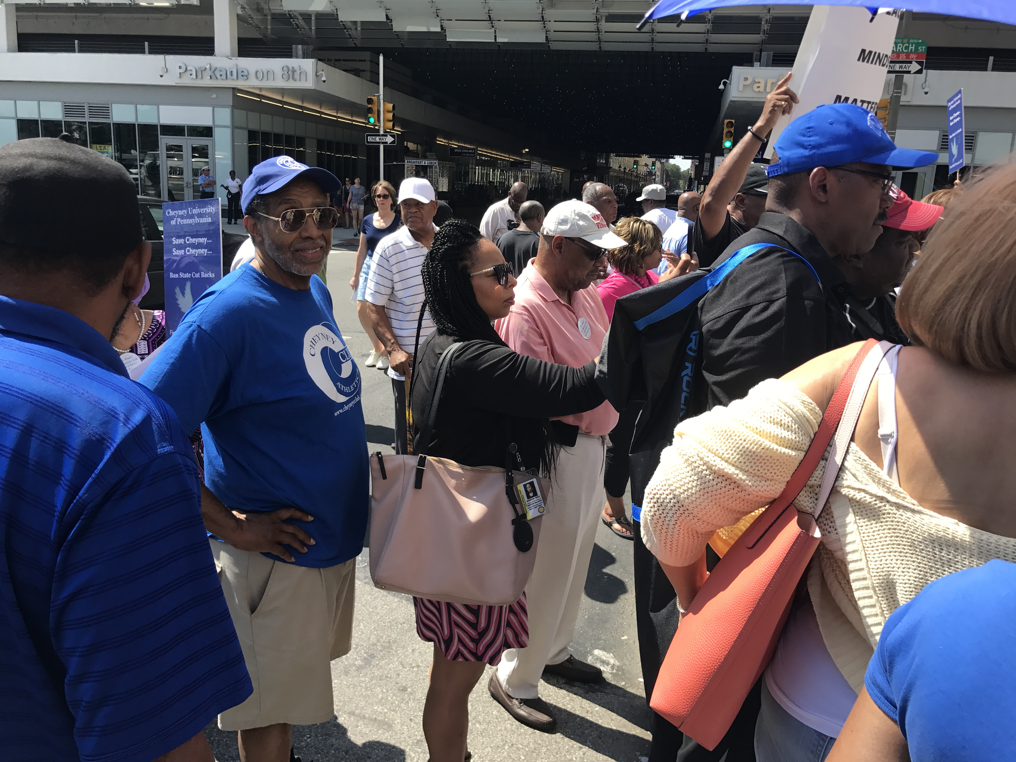 John Lay was among the Cheyney University grads and alums who gathered outside Gov. Wolfe´s office on Tuesday to draw attention to their need for immediate attention.