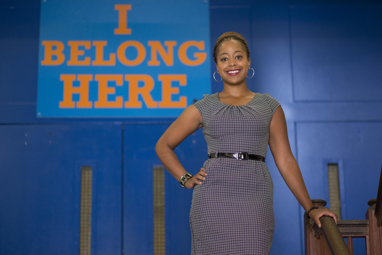 Jasmyn Wright stands in Frederick Douglass Mastery Charter School.
