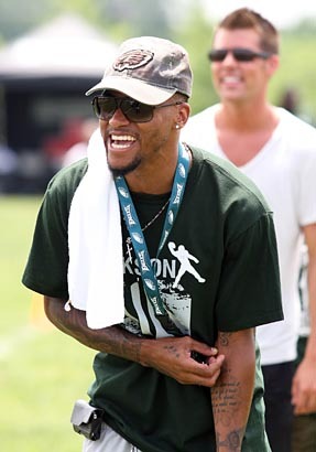Eagles Wide Receiver DeSean Jackson cracks a joke at the DeSean Jackson Football Camp at Moorestown Upper Elementary School in Moorestown, N.J. on Monday. Jackson spent Monday afternoon working with young football players at his camp. (Jonathan Yu / Staff Photographer)