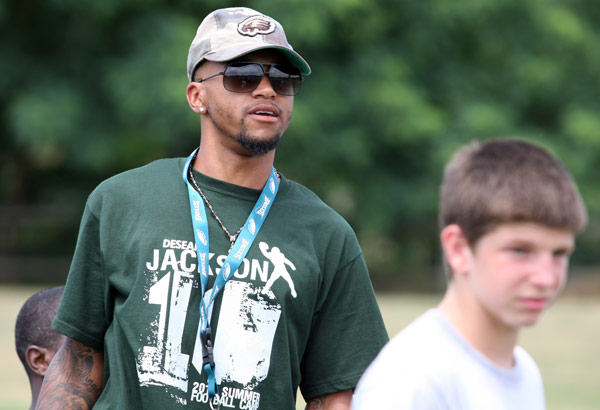 Eagles Wide Receiver DeSean Jackson spent an afternoon working with young players at the DeSean Jackson Football Camp at Moorestown Upper Elementary School in Moorestown, N.J. on Monday. (Jonathan Yu / Staff Photographer)