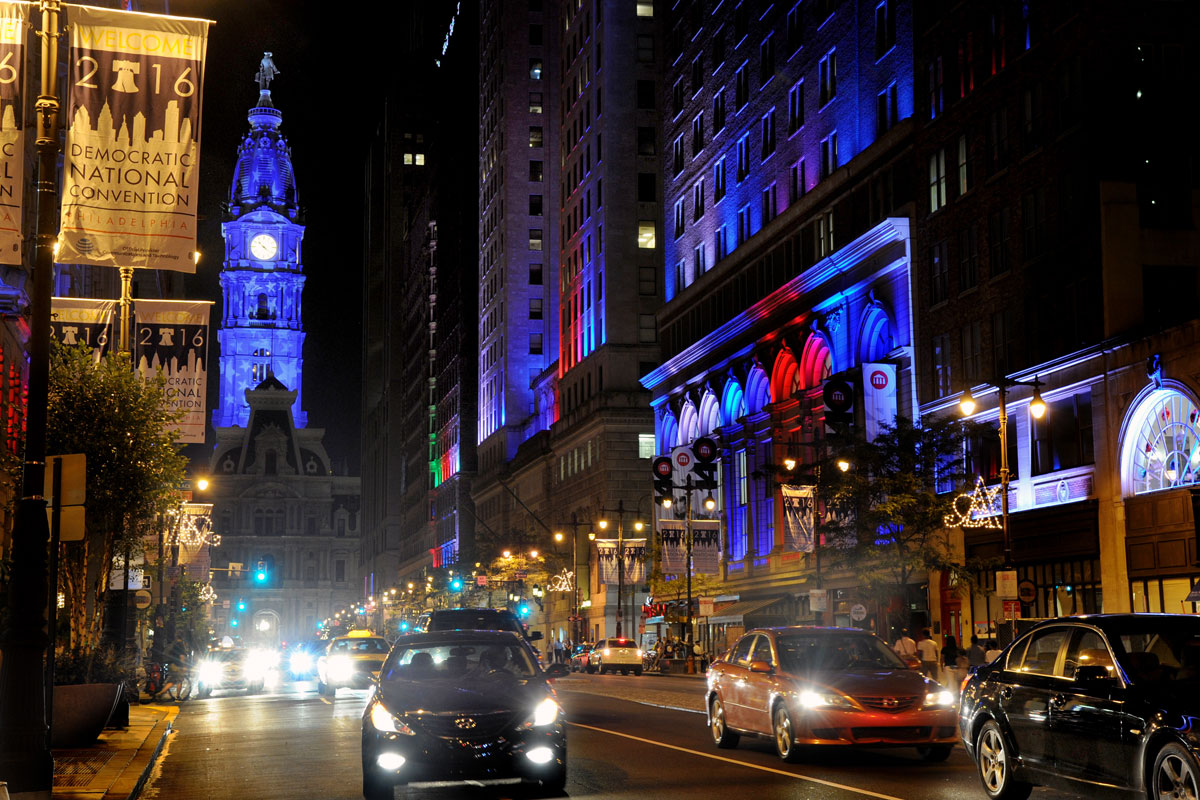 City Hall was one of the local landmarks that debuted new a nighttime look for the DNC.