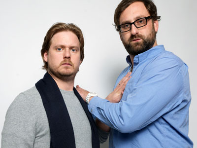 "Writer/directors Tim Heidecker, left, and Eric Wareheim, from the film ""Tim and Eric´s Billion Dollar Movie,"" pose for a portrait during the 2012 Sundance Film Festival. (Victoria Will / Associated Press)"