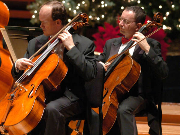 "7Days16: Cellists Derek Barnes (left) and Ohad Bar-David and the Philadelphia Orchestra performs ""The Glorious Sound of Christmas"" at the Kimmel Center 12/20-22. Credit: Michael T. Regan"