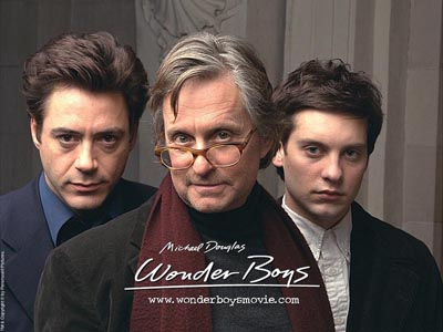 Who knew when Michael Douglas (center) played the shaggy academic in Wonder Boys that he was flanked by the future Iron Man (Robert Downey, Jr., left) and future Spider-Man (Tobey Maguire, right)?