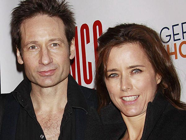 David Duchovny and Tea Leoni Opening night after party for the Off-Broadway production of ´The Break of Noon´ held at 49 Grove restaurant - Arrivals. (Joseph Marzullo/Wenn.com)
