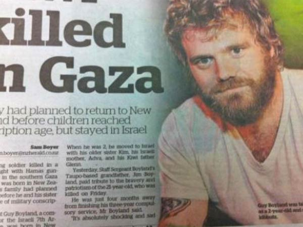 New Zealand newspaper runs photo of Ryan Dunn in place of Sgt. Guy Boyland, a New Zealand-born Israeli soldier recently killed in Gaza. (courtesy photo)
