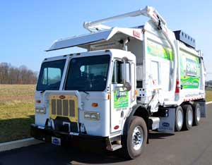 A Compressed Natural Gas (CNG) trash truck from Sustainable Waste Solutions, likely the first in the state to put this trend into operation.