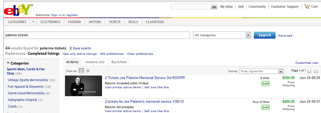 eBay listing for Paterno memorial tickets