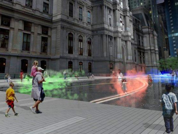 A rendering of Echelman´s fountain sculpture at night. The mist will be color-coordinated with the transit lines showing the movement of subway and trolley lines beneath Dilworth Plaza.