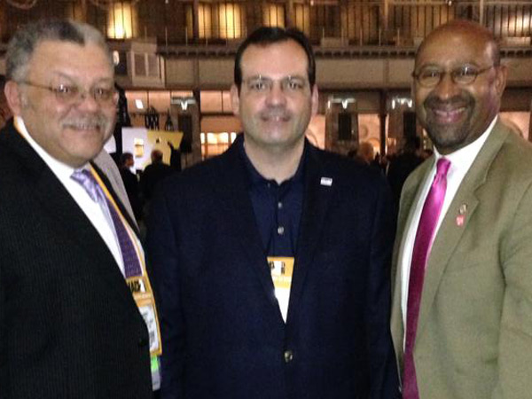 Commissioner Charles H. Ramsey with Josh Ederheimer of the Department of Justice and Mayor Nutter at the International Association of Chiefs of Police Conference in Philadelphia in Oct. 2013.
