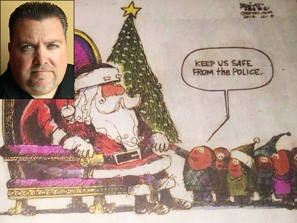 FOP President John McNesby (inset) is upset over an editorial cartoon published in Sunday´s Bucks County Courier Times. (Photo: Bucks County Fraternal Order of Police)