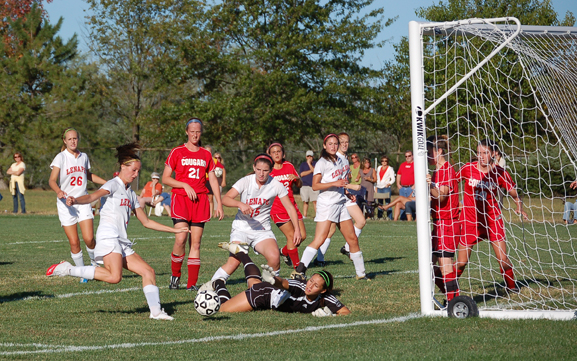 Lenape's Emmy Duffy shoots on goal against Cherry Hill Cougars goalkeeper.
