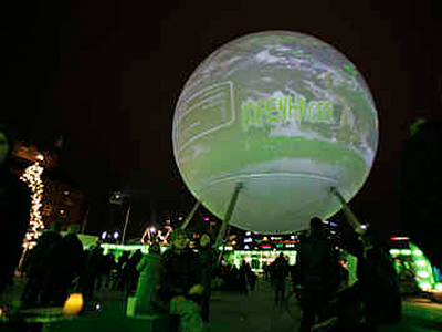 Opening day of the international conference on climate change in Copenhagen, Denmark, made for a global scene in Town Hall Square. (PETER DEJONG / Associated Press)