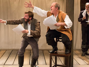 Dan Hodge as Nate, Anthony Lawton as Armin, and Eric Hissom as Shag in Arden Theatre Company´s production of Equivocation.