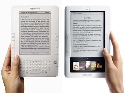 Amazon Kindle (left) and the Barnes & Noble Nook (right). (MCT)