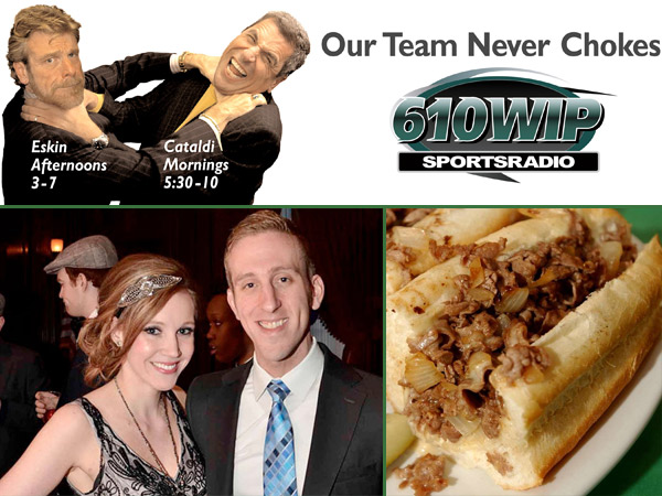 Top: Howard Eskin and Angelo Cataldi choking each other on a 2006 billboard for SportsTalk Radio WIP. Bottom: Spike Eskin, Howard´s son, who saved Cataldi´s life when he was choking on a cheesesteak, shown with fiancee Valerie DiBiaggio.