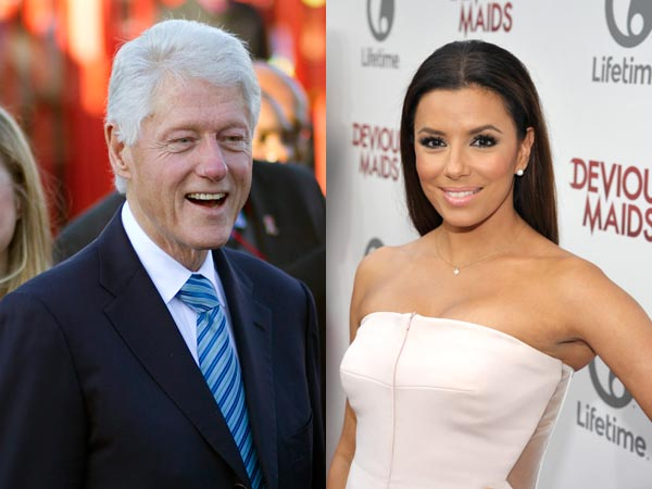 Bill Clinton and Eva Longoria will not be attending the National Constitution Center´s Liberty Medal Award ceremony on September 10, 2013. (AP photos)