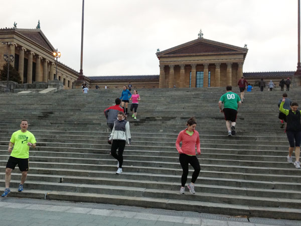 Some Fairmount runners tackle the Art Museum steps.