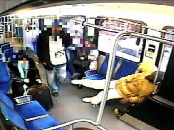 SEPTA surveillance video shows a man getting on a bus and faking injury.