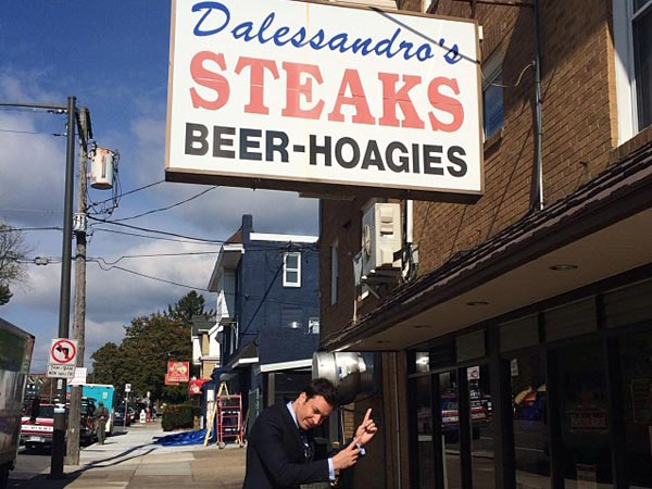 Jimmy Fallon outside of Dalessandro´s Steaks in Roxborough on October 25, 2013. (Photo via Jimmy Fallon´s Instagram)