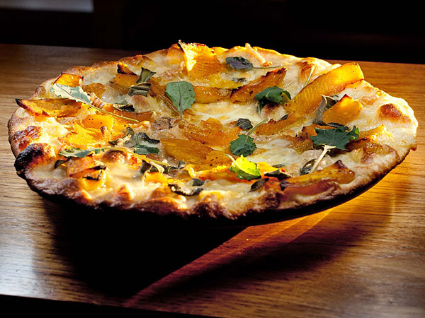 "Winter squash ""bar pie"" with arugula, brown butter, sage at Farm & Fisherman Tavern + Market in Cherry Hill."