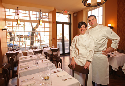 Colleen Kelly and Josh Lawler in the dining room of their new BYOB on Pine Street, The Farm & Fisherman. (Photo: MICHAEL BRYANT / Staff)