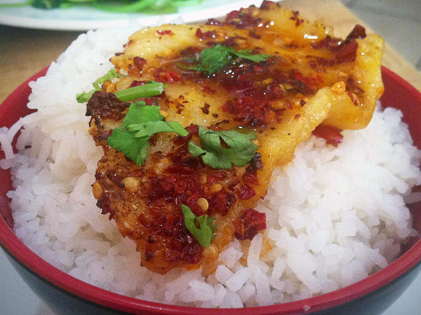 Crispy flounder in Sichuan red chile sauce from Red Kings, at 933 Race St.