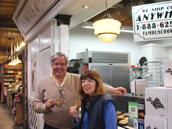 Carolyn Wyman visiting Famous 4th Street Cookies at Reading Terminal Market, where owner David Auspitz is in the chips.