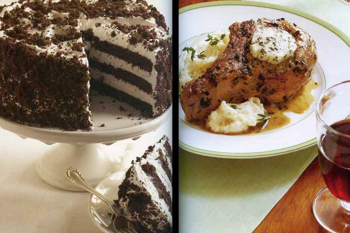 Devil´s Food White-Out Cake (left) and veal chops with rosemary butter.