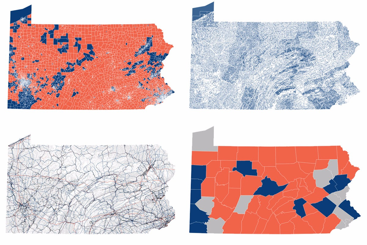 Maps generated using data turned over by House Speaker Mike Turzai during federal gerrymandering trial Agre v. Wolf.
