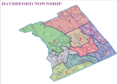 The Haverford Township map prior to 2011´s reapportionment could return after the Pennsylvania Supreme Court´s decision yesterday. (Courtesy Rep. Greg Vitali´s office)