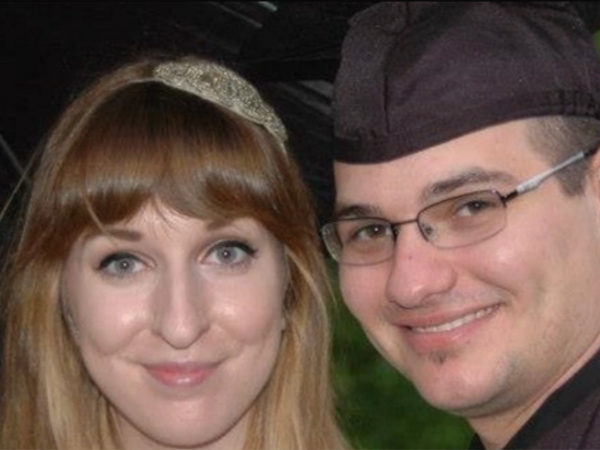 Alex Lanchester (left) of England and Tucker Blandford of Connecticut were engaged until he tried to convince her he was dead, by calling and pretended he was his father breaking news of a suicide.