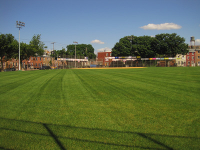 The now green Hertzell Field in Fishtown.