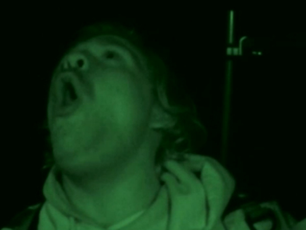 "Kyle Newhall of Pemberton, Burlington County, howls to stir up Bigfoots during a late-night search in woods near Medford on a ""Finding Bigfoot"" episode that premiered on Animal Planet on Jan. 26, 2014."