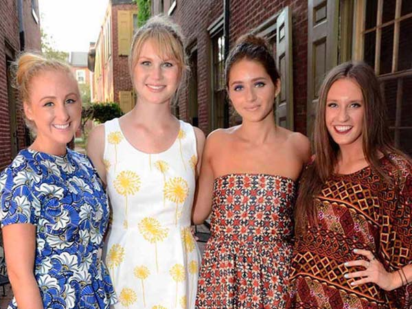 Jennifer Binstead wore Aso Damisi, Emily Repshas wore Lila-ila ecochic, Caitlin Wilson wore Mariel Rojo with Danielle Hart at the US*U.S. boutique in Old City celebrating local designers and made in America fashion on Friday, August 2, 2013. (HughE Dillon/Philly.com)