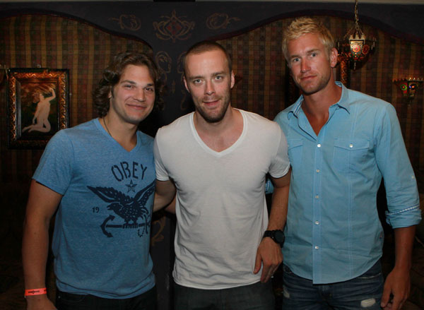 Flyers (from left) Dan Carcillo, Ville Leino, and Jeff Carter in the House of Blues Foundation Room. (Photo: TOM BRIGLIA)
