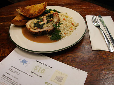 This stuffed pork roulade was bought at McGillin´s Olde Ale House with an online gift certificate. (JONATHAN YU / Staff Photographer)