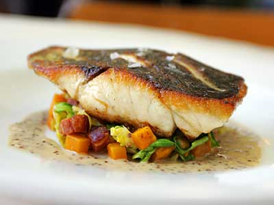 Japanese black bass, served at Little Fish: Sustainable and a new flavor. (DAVID SWANSON / Staff Photographer)