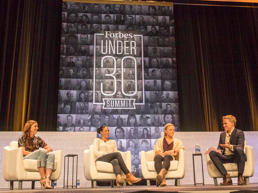 Alex Morgan, Shannon Boxx and Julie Johnston (from left to right) on stage during the Forbes Under-30 Summit at the Pennsylvania Convention Center.